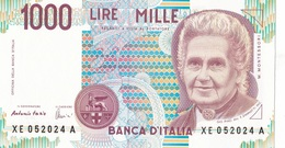 ITALIA BANCONOTA DA LIRE 1000  MONTESSORI  SERIE  XE 052024 A   FDS SERIE SOSTITUTIVA - [ 2] 1946-… : Repubblica