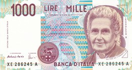 ITALIA BANCONOTA DA LIRE 1000  MONTESSORI  SERIE  XE 286245  A   FDS SERIE SOSTITUTIVA - [ 2] 1946-… : Repubblica