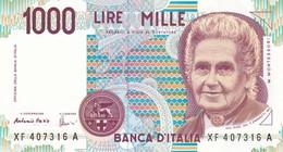 ITALIA BANCONOTA DA LIRE 1000  MONTESSORI  SERIE  XF 407316  A   FDS SERIE SOSTITUTIVA - [ 2] 1946-… : Repubblica