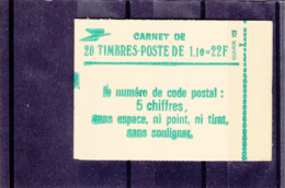 France - 1979 - Type Sabine - 1.10 Fr Vert -  N°YT 2058-C1 - 20 Timbres - Sans N° Conf - Fermé - Carnets