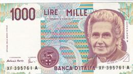 ITALIA BANCONOTA DA LIRE 1000  MONTESSORI  SERIE  XF 395761  A   FDS SERIE SOSTITUTIVA - [ 2] 1946-… : Repubblica