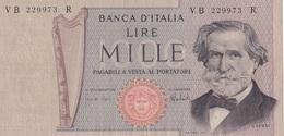 ITALIA BANCONOTA DA LIRE 1000  VERDI NUOVO TIPO SERIE VB 229973 R CIRCOLATA - [ 2] 1946-… : Repubblica