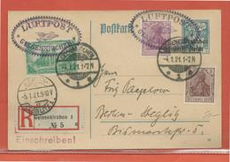 ALLEMAGNE ENTIER POSTAL RECOMMANDE POSTE AERIENNE DE 1921 DE GELSENKIRCHEN POUR BERLIN - Germania