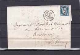 DIJON ( COTE D'OR ) GC 1307 -  LAC + CERES N° 60 C  Pour TOULOUSE  15 SEPT. 1875 - REF 13712 +ambulant Rapide - 1849-1876: Classic Period