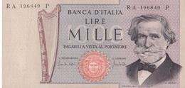 ITALIA BANCONOTA DA LIRE 1000  VERDI NUOVO TIPO SERIE RA 196849 P FDS - [ 2] 1946-… : Repubblica