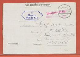 ALLEMAGNE LETTRE CAMP DE PRISONNIER DE 1941 POUR MARSEILLE FRANCE - Occupation 1938-45