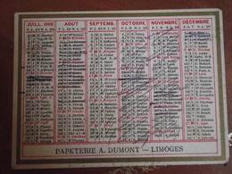 Calendrier, 1908,  IMPRIMERIE PIERRE DUMONT, Limoges, Type Recto Verso - Calendriers