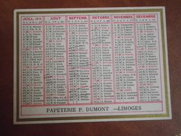 Calendrier, 1910,  IMPRIMERIE PIERRE DUMONT, Limoges, Type Recto Verso - Calendriers