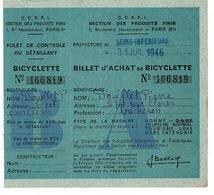 BILLET D'ACHAT DE BICYCLETTE - Seine Inférieure 31 Juillet 1946 - N°166819 (  France ) - 1900 – 1949