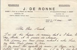 Courrier Brasserie Brouwerij J. De Ronne à Gand - Levensmiddelen