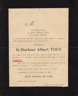 Faire Part De Décès Docteur Albert Toen Berchem Westmalle - Overlijden