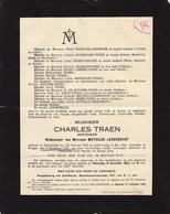 Faire Part De Décès Charles Traen Zuyenkerke - Delandmeter Noterdame Strubbe - Overlijden