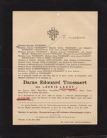 Faire Part De Décès Toussaert Née Leroy Zuydschoote Blankenberge - Notes Généalogiques Au Dos - Overlijden