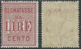 1884 REGNO SEGNATASSE 100 LIRE MH * - RC14-4 - 1878-00 Humbert I.