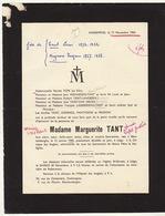 Faire Part De Décès Marguerite Tant Blankenberge - Notes Généalogiques Au Dos - Overlijden