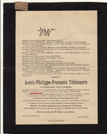 Faire Part De Décès Louis Tollenaere Conseiller Prud'homme Gand - Overlijden