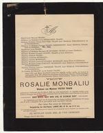 Faire Part De Décès Rosalie Monbaliu Traen Dudzeele Bruges - Overlijden