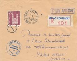"""Cachet """" DIRECTION HAUTE VOLTA 1961 """" Lettre Recommandée AVION  TAXE SUISSE 80c ST GALLEN POSTES OUAGADOUGOU PORTO DUE - Postage Due"""