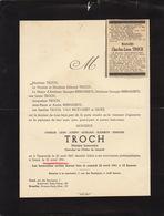 Faire Part De Décès Charles Troch Notaire Termonde Gand - Notes Généalogiques Au Dos - Obituary Notices