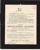 Faire Part De Décès Sidonia Seghers Troffaes Blankenberge - Notes Généalogiques Au Dos - Todesanzeige