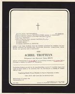 Faire Part De Décès Achiel Trotteyn Beidts Blankenberge - Notes Généalogiques Au Dos - Overlijden