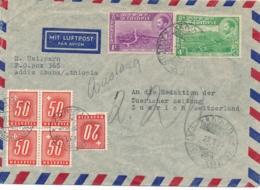 TAXE SUISSE 50c BLOC De 4 + 20c Sur Lettre AVION ADDIS ABEBA ETHIOPIE - Ethiopia - Postage Due