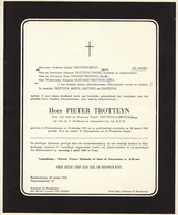 Faire Part De Décès Pieter Trotteyn Blankenberge - Todesanzeige