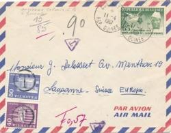 GUINÉE 65f Sur Lettre Taxée Avec TAXE SUISSE 50c + 40c - CONAKRY 11/4/61 - Marcofilie