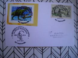 2014 Tautavel, 50e Chantier, Préhistoriques, Dinosaure - Storia Postale