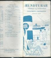 Dépliant Vers 1955 ,Rundturar I Hardanger Og Sunnhordland / Turistrute I Hardanger / Sumaren 1955 -   Pma75 - Dépliants Touristiques