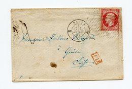 !!! N°17 ROULETTE DE PETITS POINTS OBLIT DIABOLO SUR LETTRE DE 1862 SIGNEE BRUN, TAXE 2 POUR LA SUISSE IND 25 - Marcophilie (Lettres)