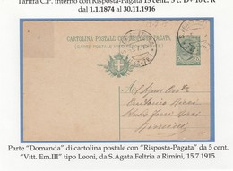 REGNO 049 - Cartolina Postale Viagg. Nel 1915 Da S.Agata Feltria A Rimini - 1900-44 Vittorio Emanuele III