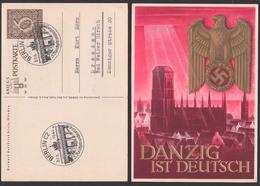 Danzig Ist Deutsch Marienkirche Adler Mit Hakenkreuz Card, Used Germany P287 SoSt. BERLIN 5. Reichsbundestag - Allemagne