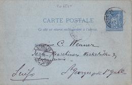 20624# ENTIER POSTAL 15 Cts SAGE CARTE POSTALE J2 ADRESSE 3 LIGNES Obl PARIS 1880 Pour ST GEORGES Près ST GALLEN SUISSE - Entiers Postaux
