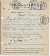 Fiscaux :  Papier Timbré Reçu D'actions Du 14/11/1952 Avec 4 Timbres à L'extraordinaire (4,00-0,50-1 Et 1,50 Frs) - Fiscaux