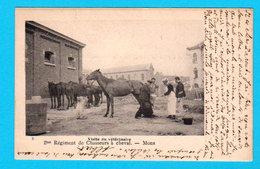 CPA MONS : 2e Régiment Chasseurs à Cheval - Visite Vétérinaire - Circulée En 1903 - 2 Scans - Mons