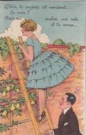 CP à Système (femme Grimpée Sur Une échelle, Poirier), Ayant Voyagée, éditeur D.D. - Dreh- Und Zugkarten