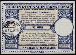 DANEMARK / DENMARK Lo14 50 ÖRE Int. Reply Coupon Reponse Antwortschein Svarkupon IRC IAS O KJOBENHAVN 18.7.45  (36mm) - Enteros Postales