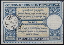 DANEMARK / DENMARK Lo14 50 ÖRE Int. Reply Coupon Reponse Antwortschein Svarkupon IRC IAS O KJOBENHAVN 2.12.49 ( 39mm ) - Enteros Postales