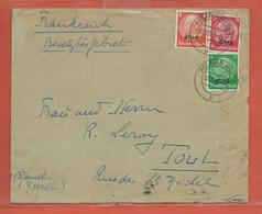 ALLEMAGNE OCCUPATION EN ALSACE LETTRE CENSUREE DE 1940 DE COLMAR POUR TOUL - Occupation 1938-45