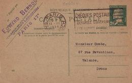 20634# ENTIER POSTAL 20 Cts PASTEUR VERT CARTE POSTALE C1 DATE 542 Obl PARIS SAINT ROCH 1926 Pour VALENCE DROME - Entiers Postaux