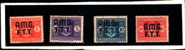 93610) ITALIA-Trieste - AMG FT-Stemma Senza Fasci, Filigrana Ruota - Segnatasse - 1 Ottobre 1947  - 4 VALORI MNH** - 7. Triest