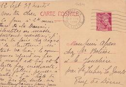 20641# ENTIER POSTAL 70 Cts MERCURE LILAS ROSE CARTE POSTALE A1 Date 935 Obl PARIS 1939 JONCHERE ST JULIEN LA GENESTE - Entiers Postaux
