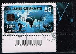 Bund 2019,Michel# 3494 O 50 Jahre Chipkarte, Eckrand - Gebraucht