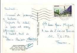 ANDORRE  SEUL SUR LETTRE SUR CARTE POUR LA FRANCE 1966 - Andorre Français