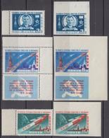 Russia, USSR13.04/17.07.1961 Mi # MARGINS 2473, 2475 AB, 2474 Zf AB, First Manned Space Flight, Gagarin MNH OG - Nuevos
