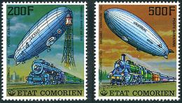 Comores 1977 Dirigeables Airships Et Trains  Zeppelin LZ-126 Los Angeles  LZ-129 Hindenburg Rheingold Express - Zeppelins