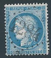 FRANCE - 1871 - Cérès Type I - YT N°60 A - 25 C. Bleu - Oblitéré GC 4284 VILLOTTE DEVANT ST MIHIEL (53) Ind 11 - TB Etat - 1871-1875 Cérès