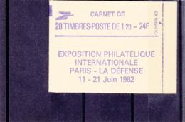 France - 1979 - Type Sabine - 1.20 Fr Vert -  N°YT 2101-C2 - 20 Timbres - N° Conf  8  - Fermé - Philexfrance 82 - Carnets