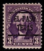 "USA Precancel Vorausentwertung Preo, ""EL PASO"" Texas). 3 Cents. - Preobliterati"